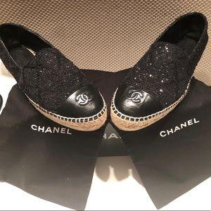 CHANEL Black Tweed Espadrilles